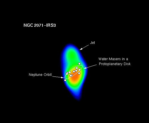 Graphic depicting water masers in protoplanetary disk