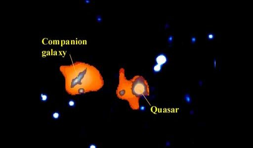 Combined optical-radio image of the quasar IRAS 17596+4221 and a companion galaxy
