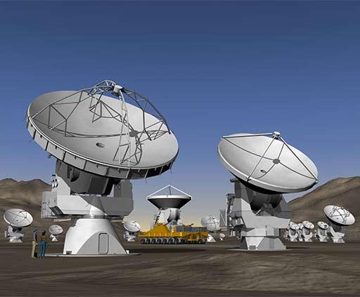 Artist's conception of ALMA antennas