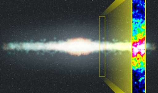 Artist's Rendering of the Milky Way with insert showing image of neutral atomic Hydrogen