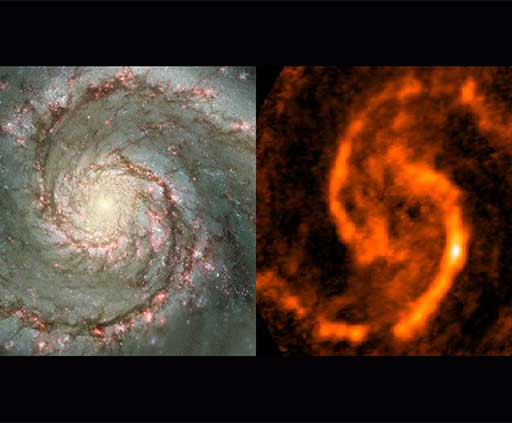 HST and radio image of M51