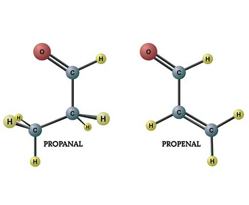 Diagrams of propanal and propenal.