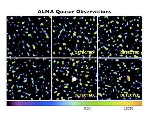 Images showing no detection or only weak detection of observed quasars.