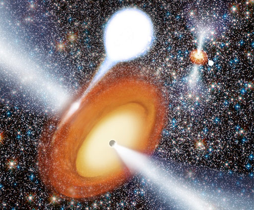Artist's conception of black hole in globular cluster.