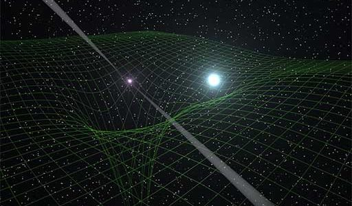 Graphic illustrating distortions in spacetime
