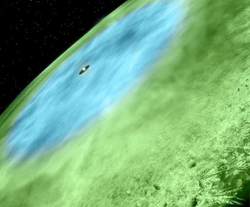 Artist concept of snow line in TW Hydrae