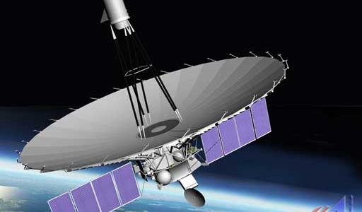 Artist rendering of the orbiting RadioAstron satellite