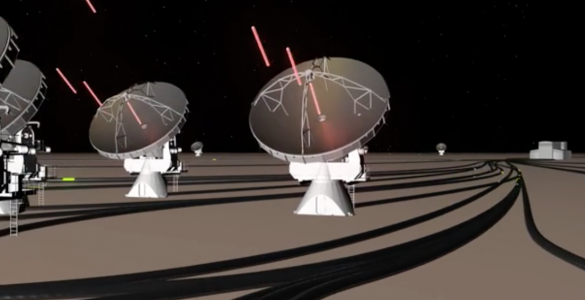 Artist's conception of radio waves hitting antennas