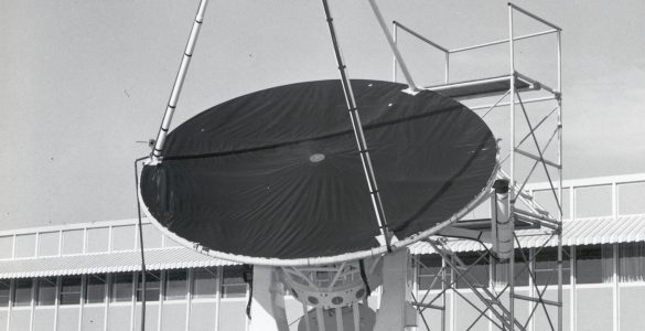 12-foot telescope and Frank Low, Tom Carpenter, Arnold Davidson, and Omar Bowyer