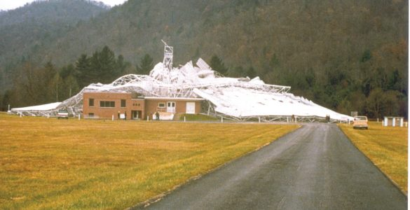 Wide shot of the collapsed 300-foot telescope