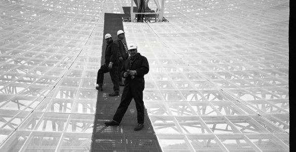 Workers on the 300-foot telescope