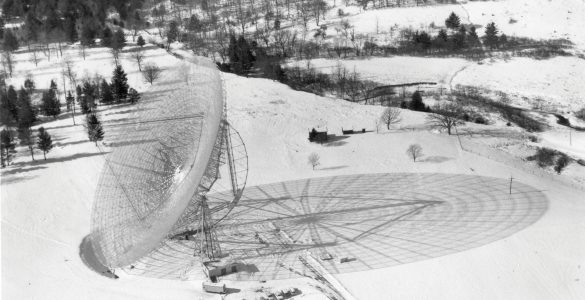 Shadow in the snow cast by 300-foot Telescope