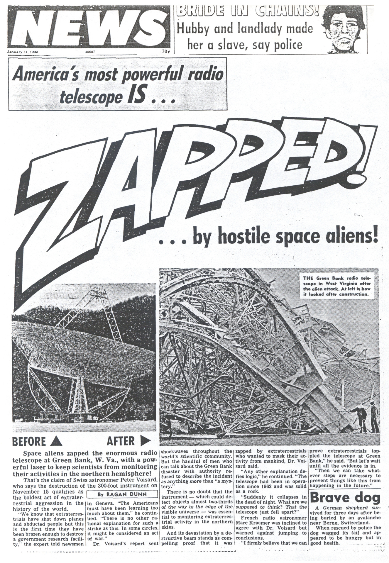 Newspaper article claiming 300-foot telescope was attacked by aliens