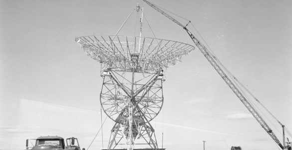 Placing the dish on the 85-foot telescope