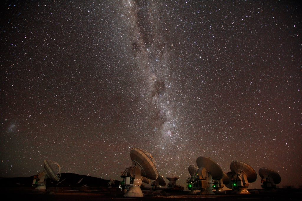 ALMA antennas and the Milky Way