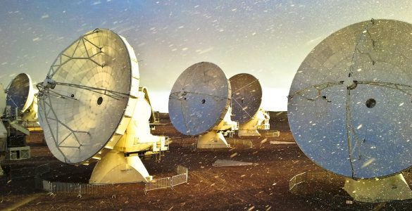 ALMA antennas in the snow