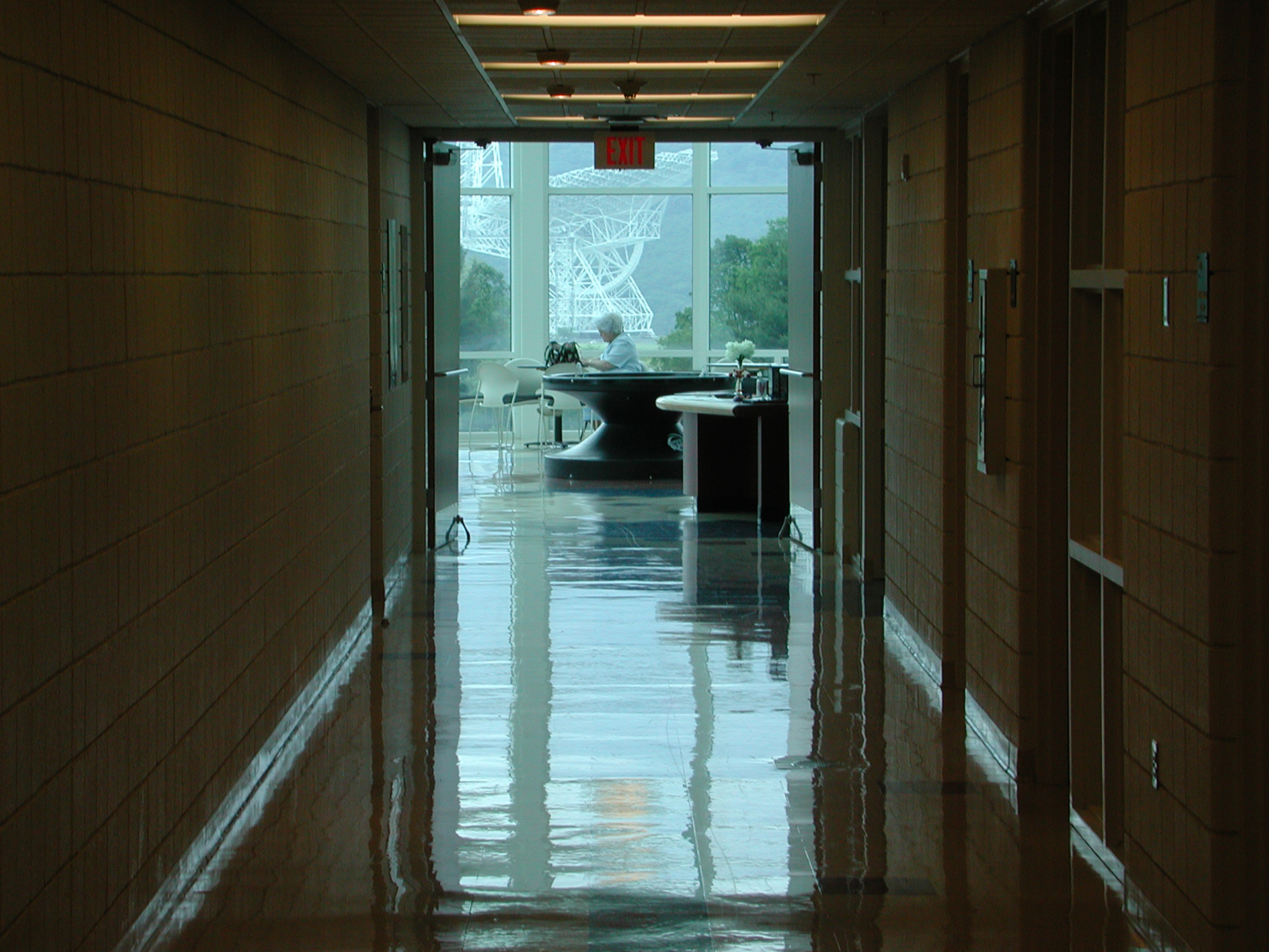 The GBT viewed from a hallway inside the Green Bank Science Center