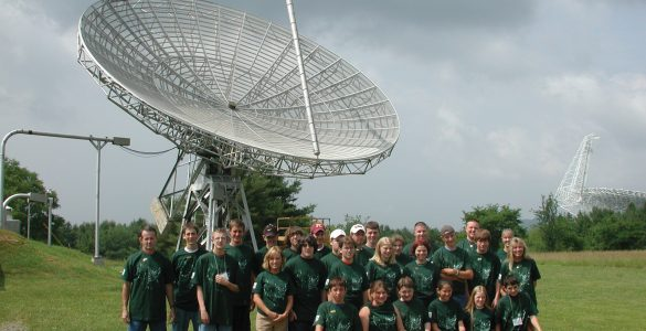 40-foot telescope and school group