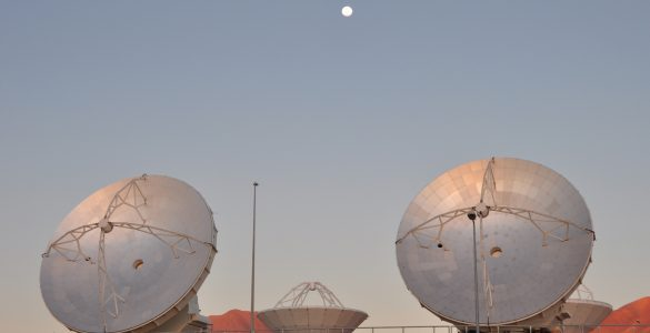 ALMA antennas and Moon