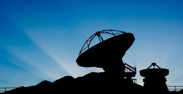 Silhouette of ALMA antennas