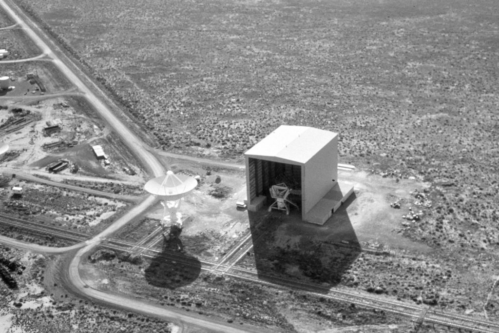Aerial photo of VLA antenna and The Barn