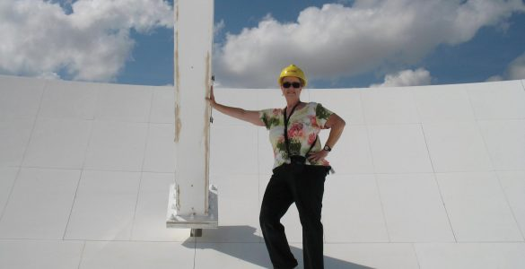 Judy Stanley on a VLA antenna