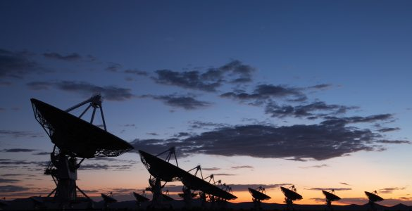 VLA antennas at sunset
