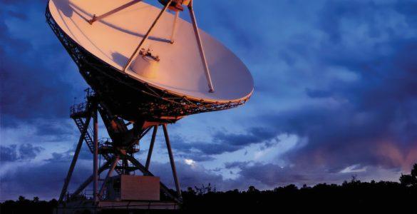 Sunrise strikes a VLBA, 25m telescope