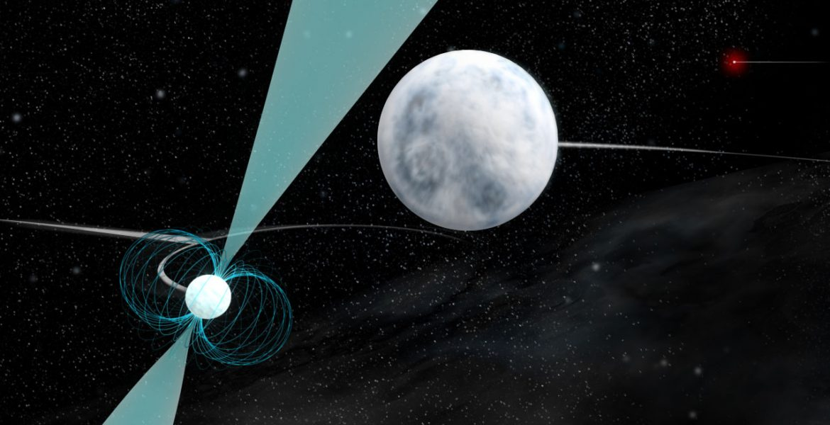 Artist impression of a pulsar, white dwarf, and white dwarf triple system
