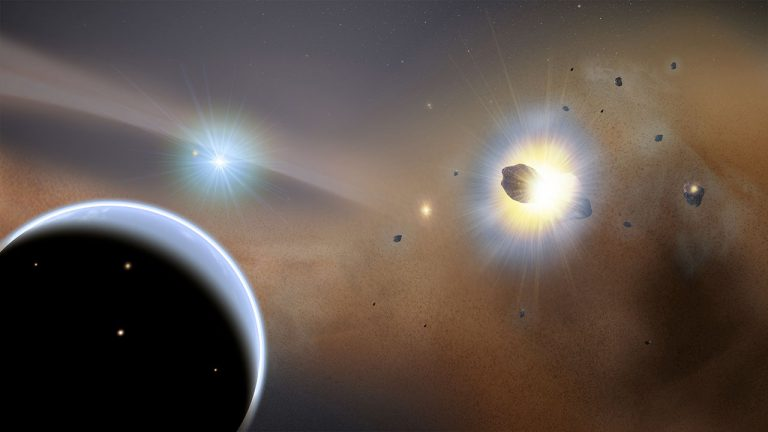 Artist concept of collisions in outer parts of a solar system