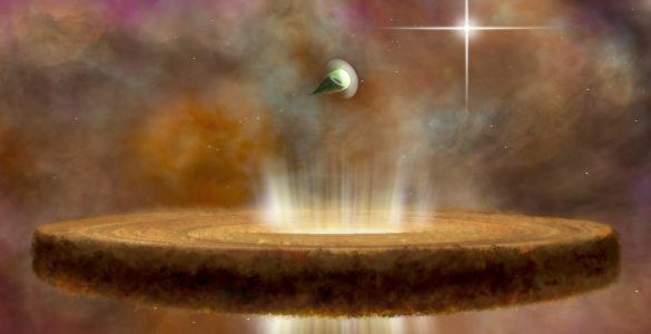An artist's concept of two proplyds, or protostars, around a massive O-type star.