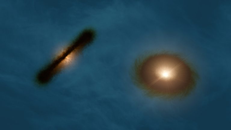 Artist's impression of the misaligned protoplanetary disks in HK Tau