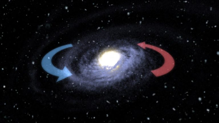 Single frame from animation showing rotation after galactic merger