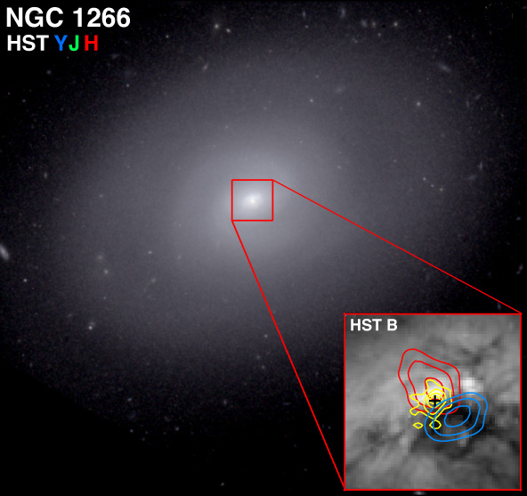 A combined Hubble/CARMA image of NGC 1266.