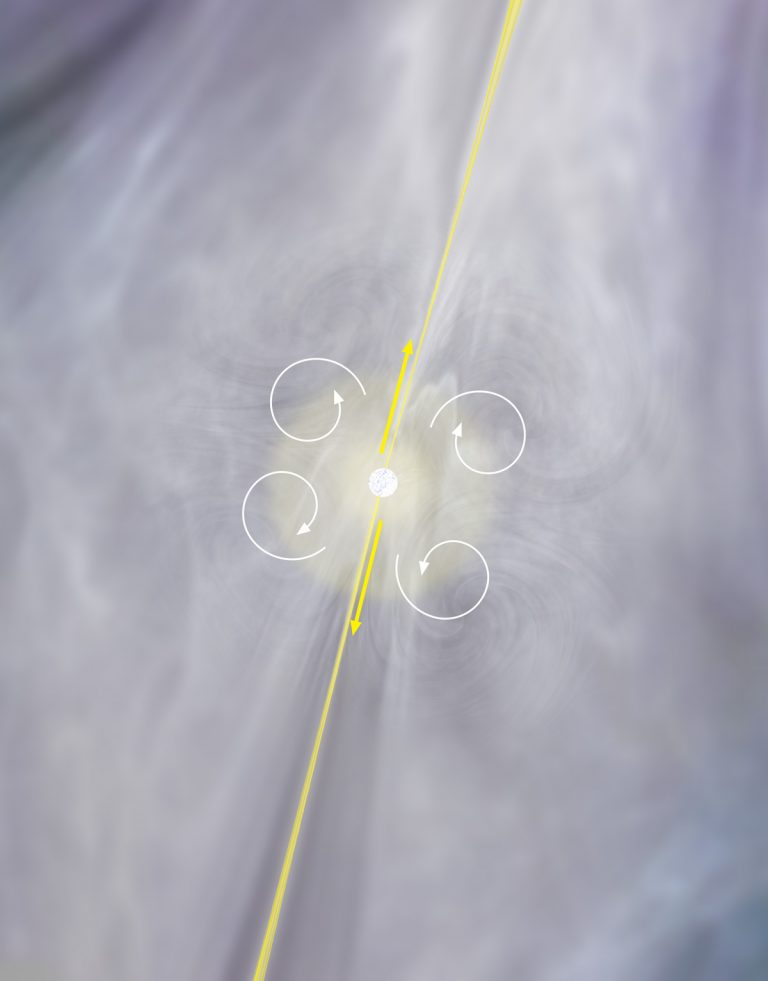 Artist illustration of the central region of NGC 1266 near its central black hole with jet and gas motions indicated