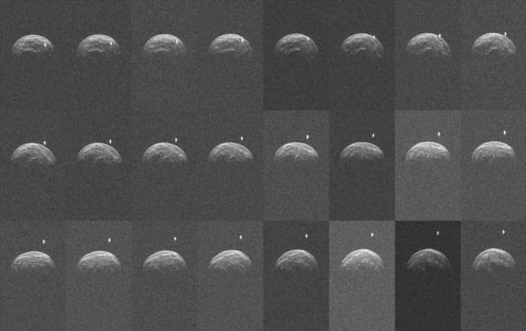 Collage of radar images of asteroid 2004 BL86