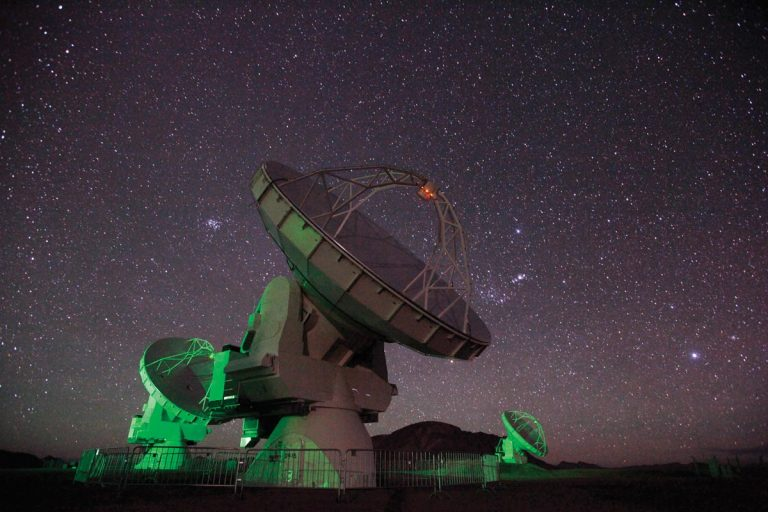 ALMA antennas at night.