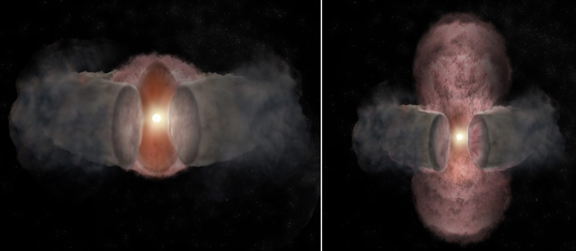 Artist's conception of the development of W75N(B)-VLA-2