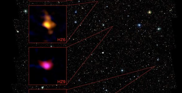 The ALMA data for four galaxies is show in relation to objects in the COSMOS field taken with the Hubble Space Telescope.