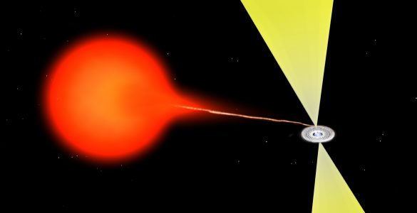 Artist's impression of material flowing from a companion star onto a neutron star