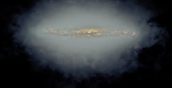 Composite image of an edge-on spiral galaxy, NGC 5775