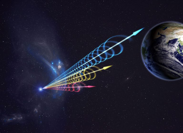 Artist impression of a Fast Radio Burst (FRB) reaching Earth.