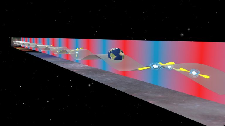 Artist's conception of gravitational waves interacting with pulsars