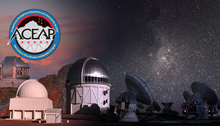 ACEAP logo imposed over image of various observatories in Chile.