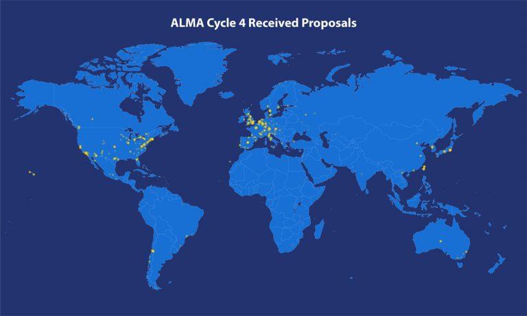 Map of ALMA Cycle 4 proposal origin locations