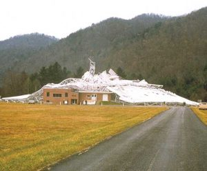 The morning of November 16, 1988, and the 300-foot telescope is a collapsed ruin.
