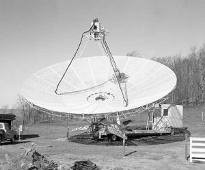To improve our testing for what would become the Very Large Array, the GBI used a series of smaller, portable telescopes on remote mountaintops. This was our 42-foot antenna that ran off the back of its trailer.