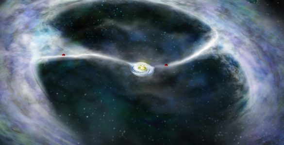 Illustration of two planets in protoplanetary disk feeding a young star.