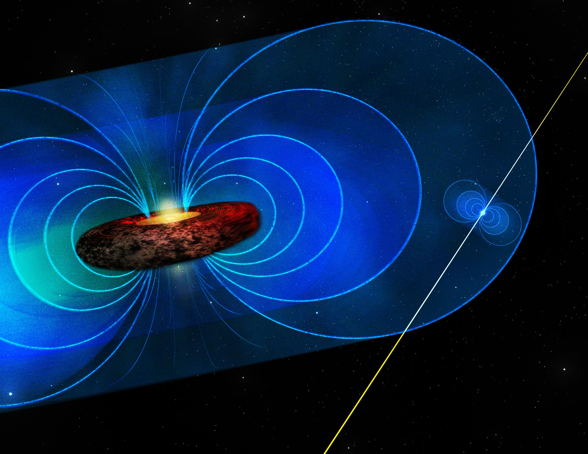 Illustration of a pulsar inside the magnetic field around a black hole.