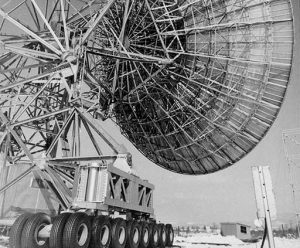 The 85-2, our second 85-foot antenna in Green Bank, was equipped with a trailer on each of its four legs so that we could haul it closer or farther away from the stationary Tatel.